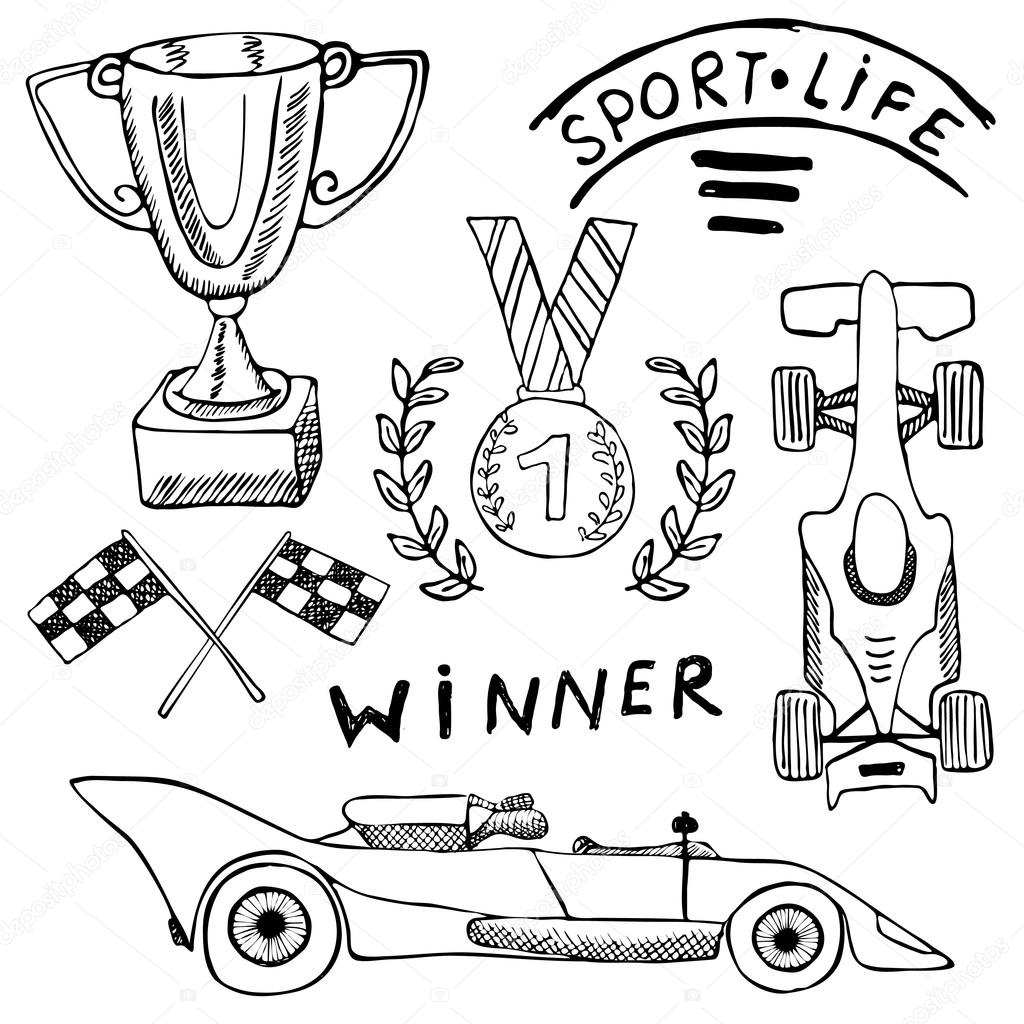 Articles De Sport Auto Doodles Elements La Main Ensemble