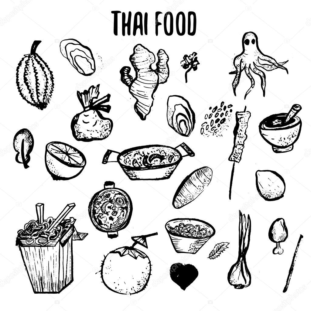 Set Of Thai Food Hand Drawn Rough Doodles Simple Thai