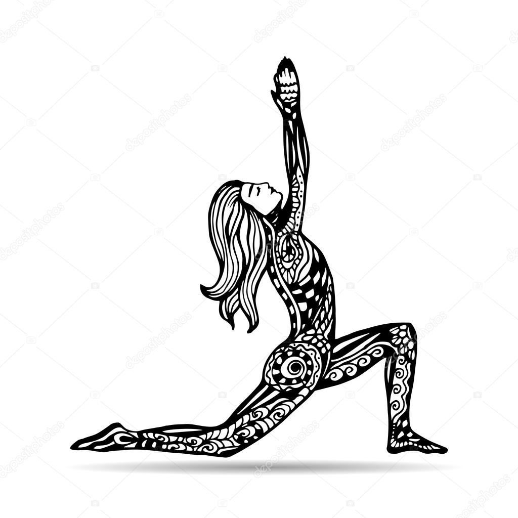 Vector Yoga Illustration In Zentangle Style