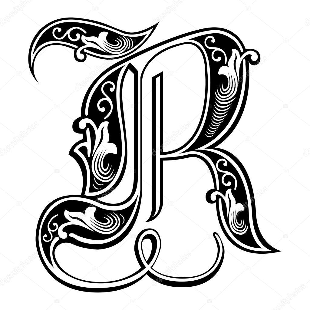 Beautiful Decoration English Alphabets Gothic Style