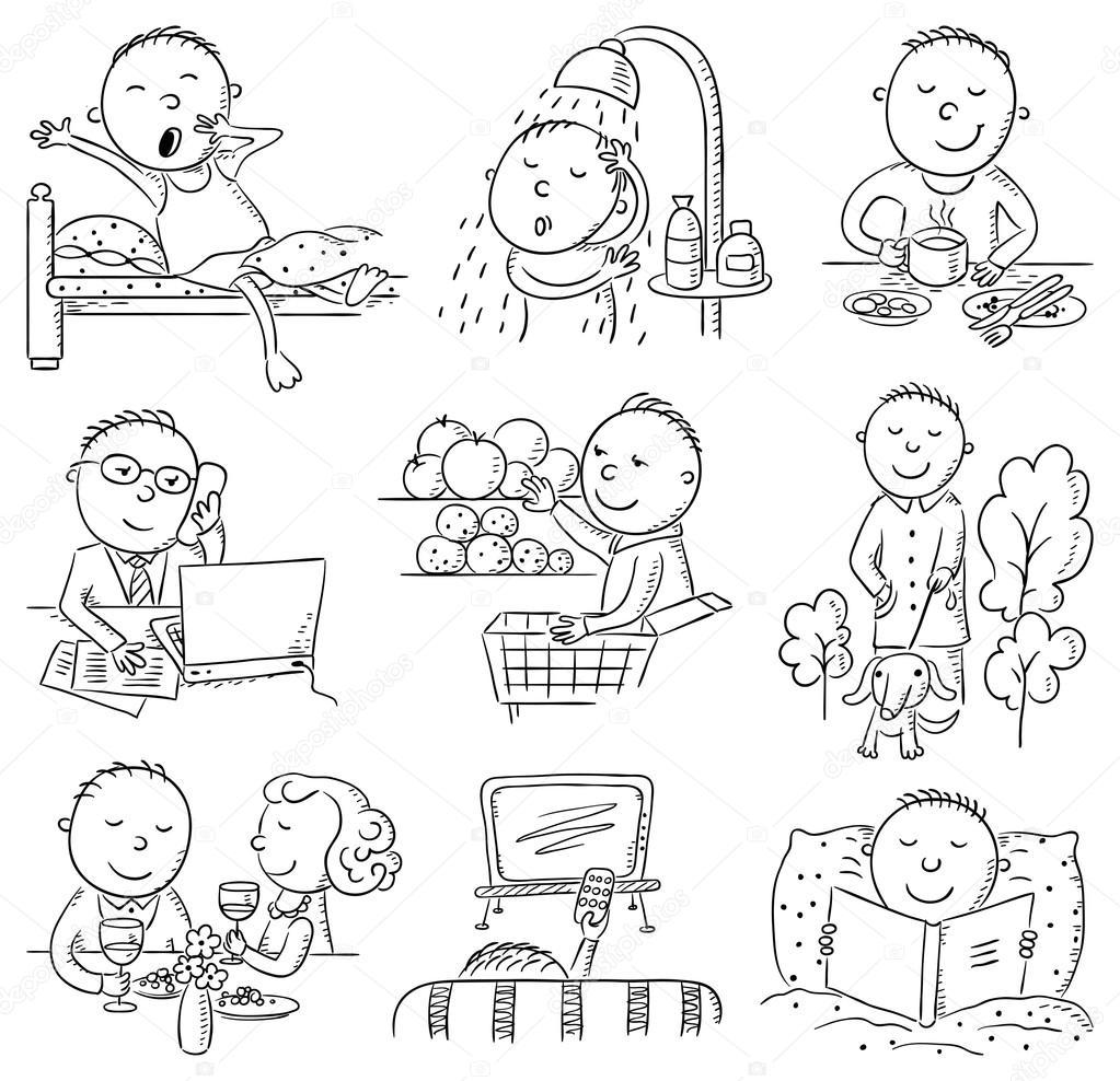Cartoon Man Daily Activities — Stock Vector © Katerina_Dav