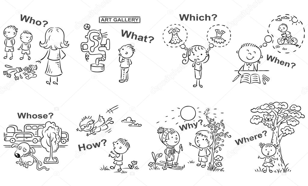 Question words in cartoon pictures, visual aid, black and