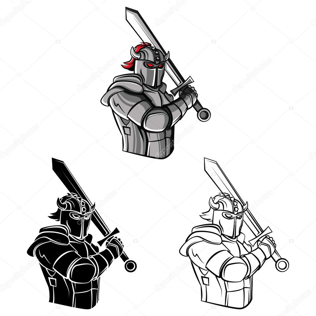 Coloring book Knight warrior cartoon character — Stock