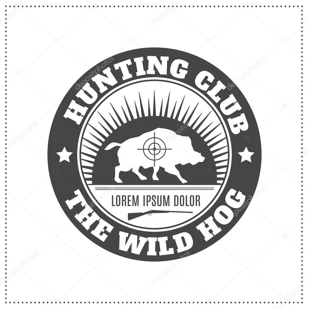 Vector Hunting Club Emblem With A Wild Hog