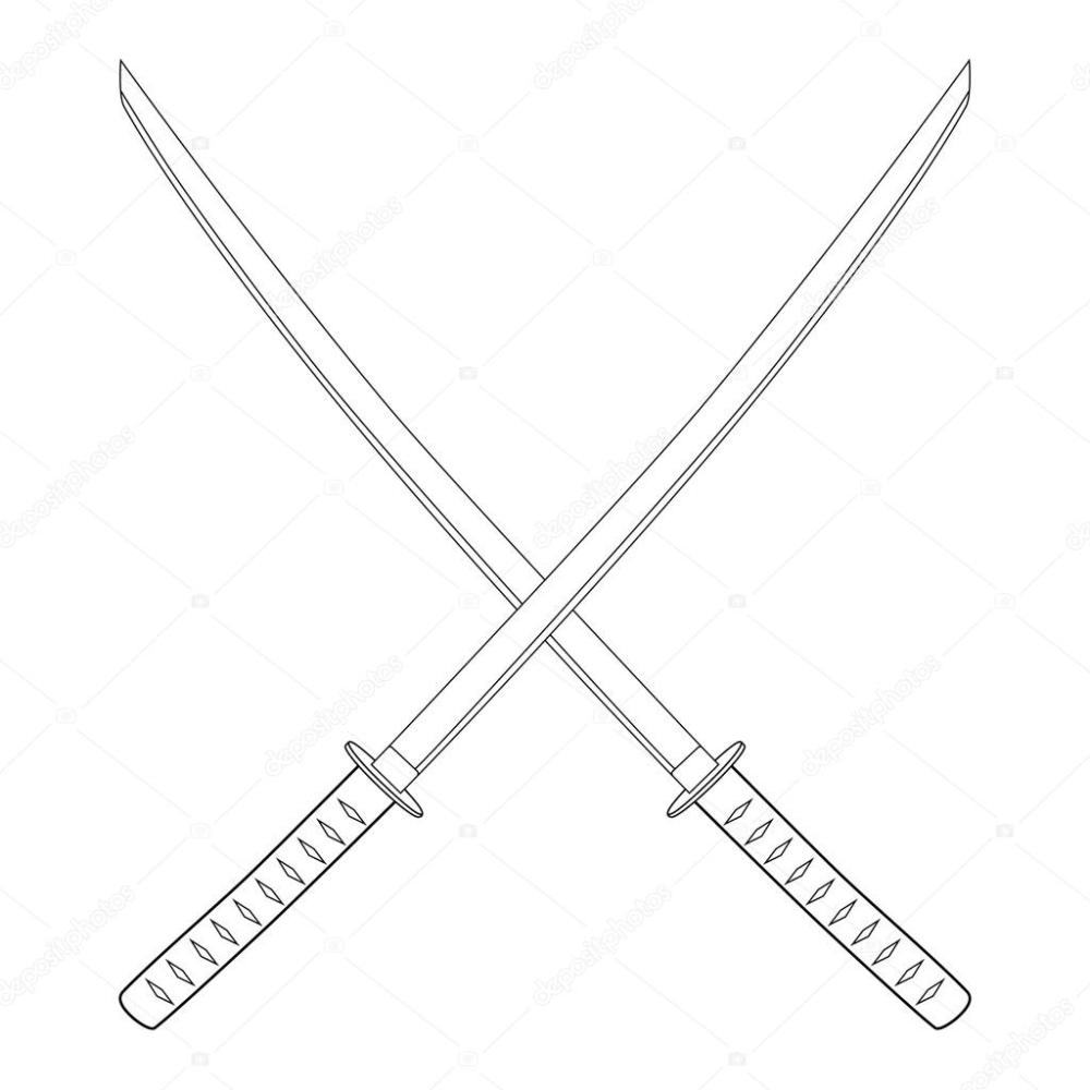 medium resolution of espada katana cruzada foto de stock