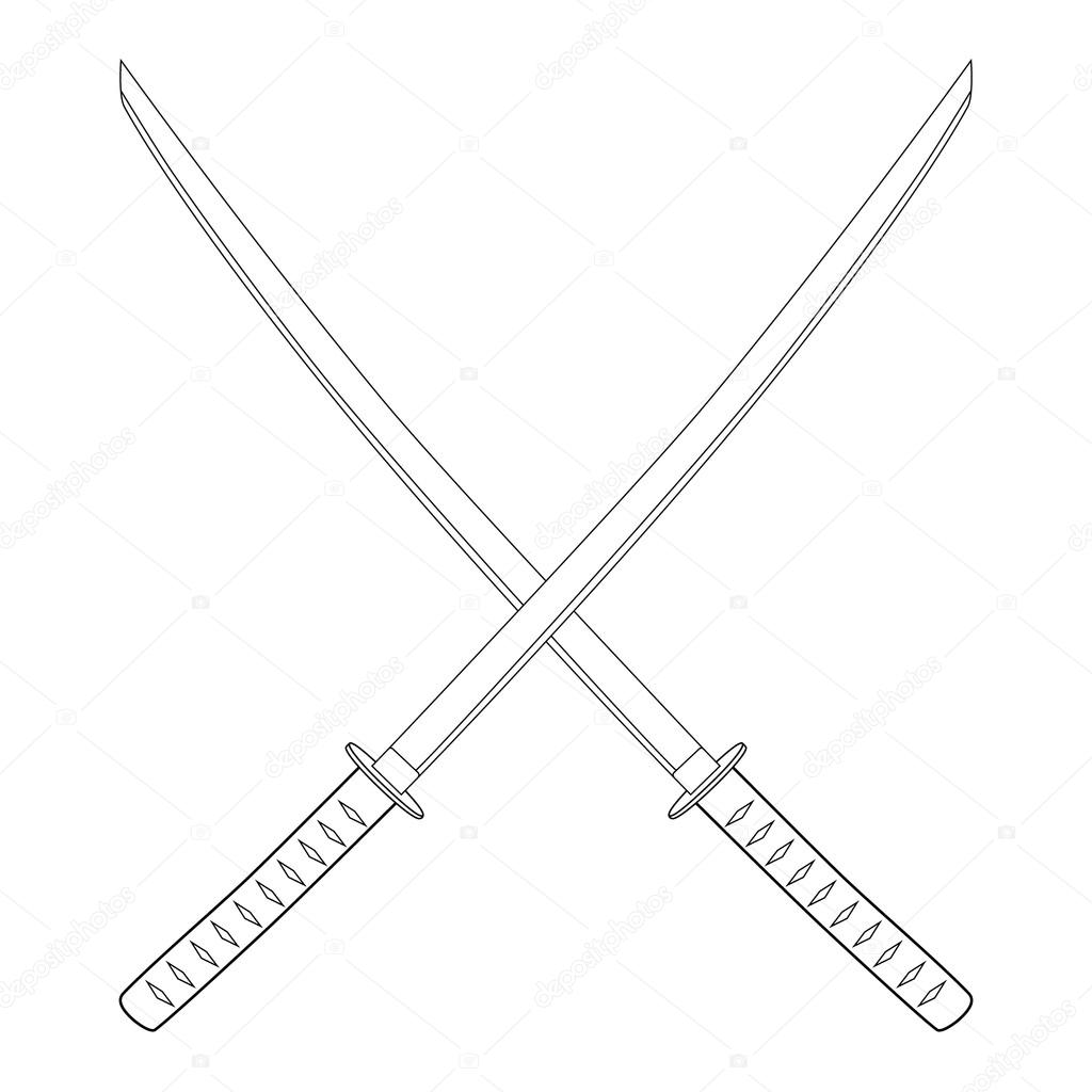hight resolution of espada katana cruzada foto de stock