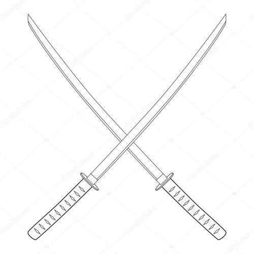 small resolution of espada katana cruzada foto de stock
