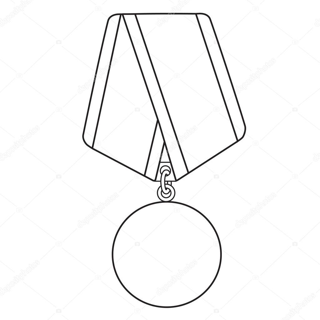 Medal outline drawing — Stock Vector © viktorijareut #74497959