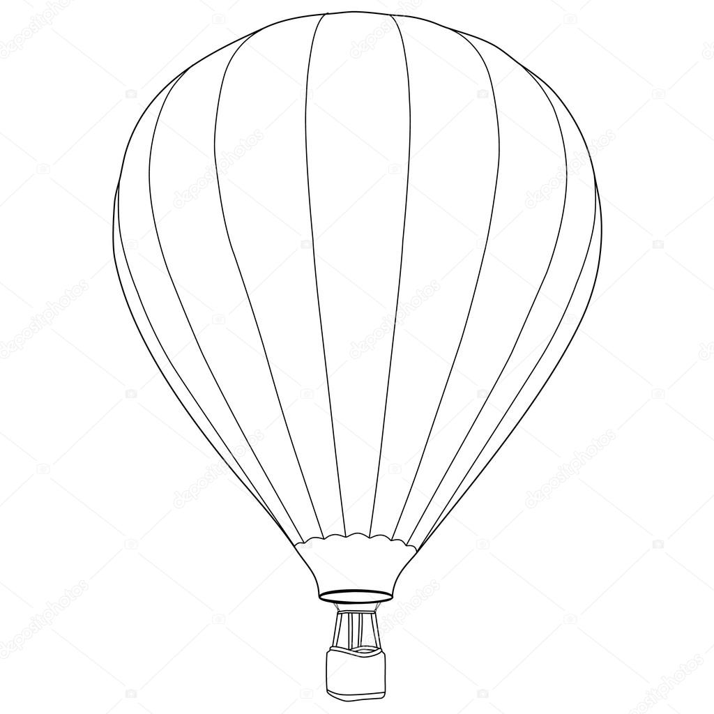 Air Balloon Outline Drawing