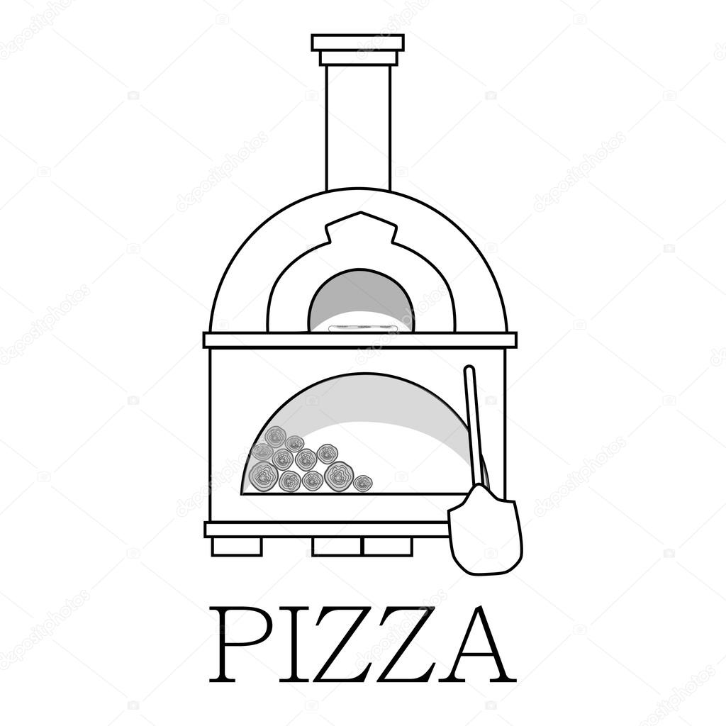 Pizza oven with text pizza outline drawing — Stock Vector