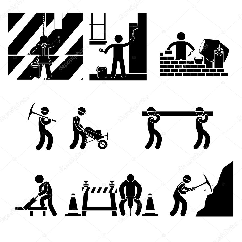 Icon Human Labor Jobs Icons Over White Background Vector