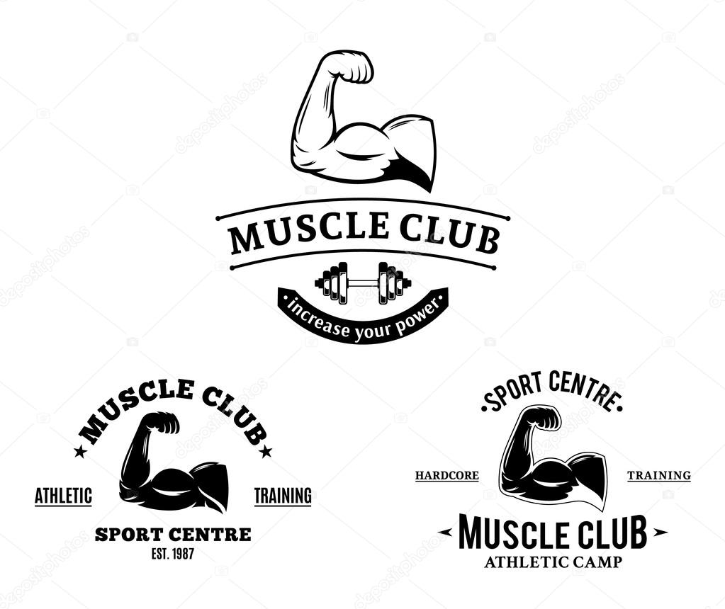 Sport Club and Fitness Gym Logos and Emblems — Stock