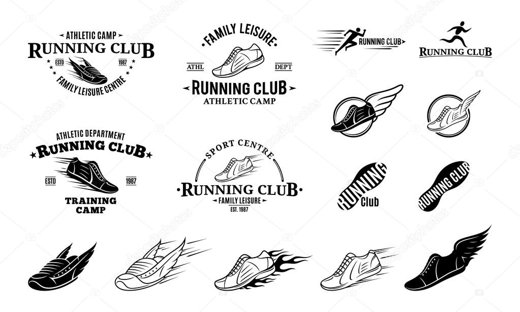 Running Club Logo, Labels Templates and Badges — Stock
