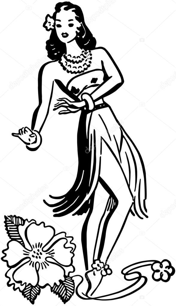 Hula Girl — Stock Vector © RetroClipArt #55668125