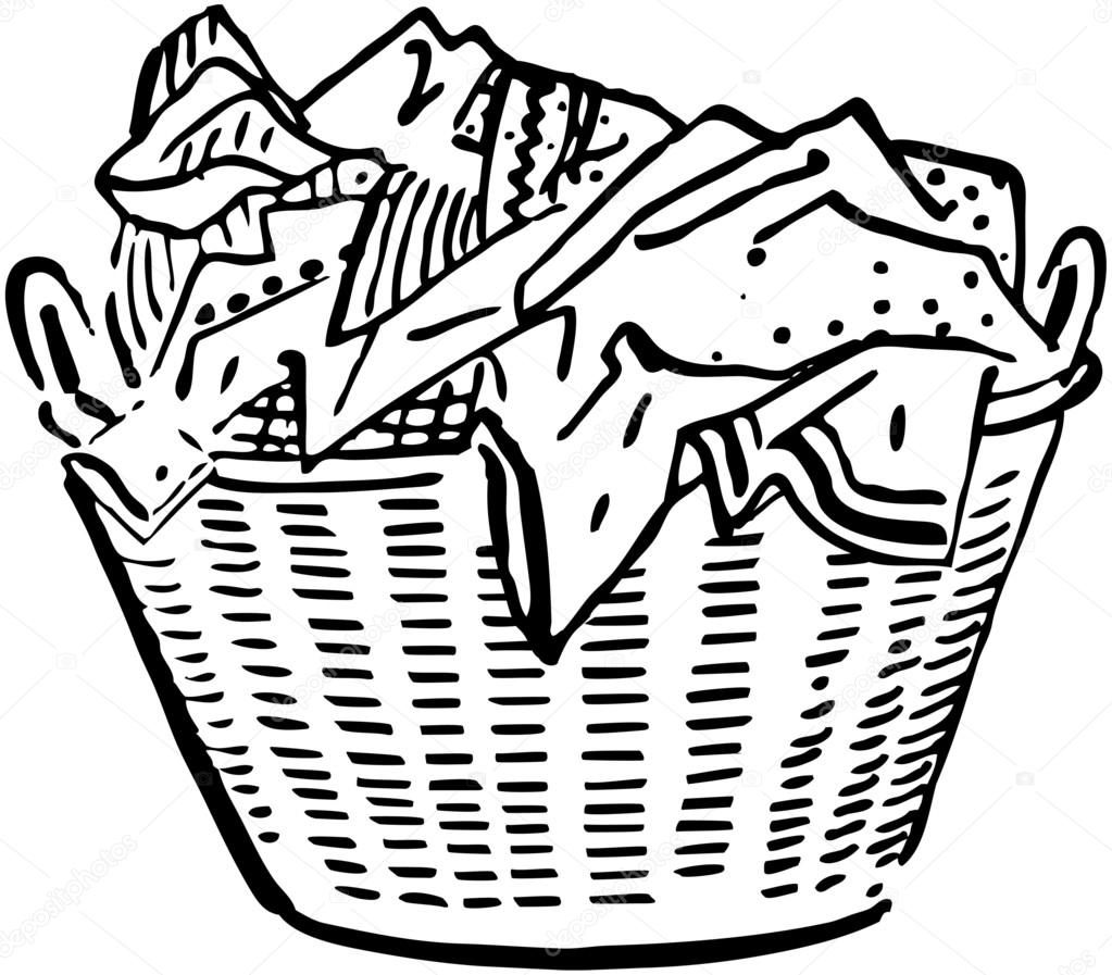 hight resolution of laundry basket stock vector