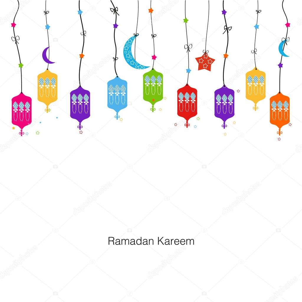 Ramadan Kareem With Colorful Lamps Crescents And Stars