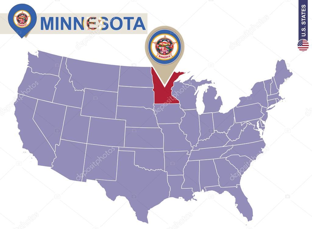 明尼蘇達州在美國地圖上。明尼蘇達州旗和地圖 — 圖庫矢量圖像© boldg #98041904