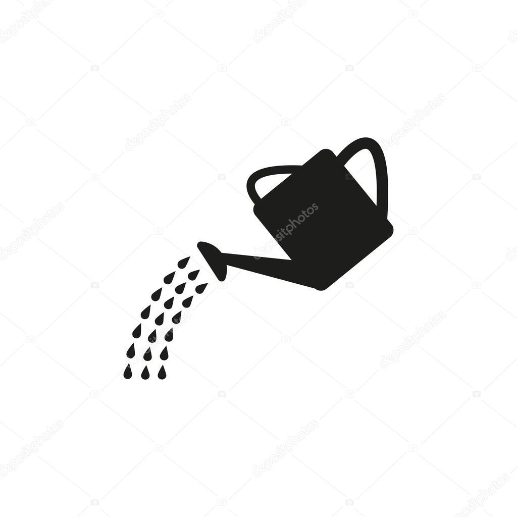 L Icona Di Annaffiatoio Simbolo Di Irrigazione Piatto