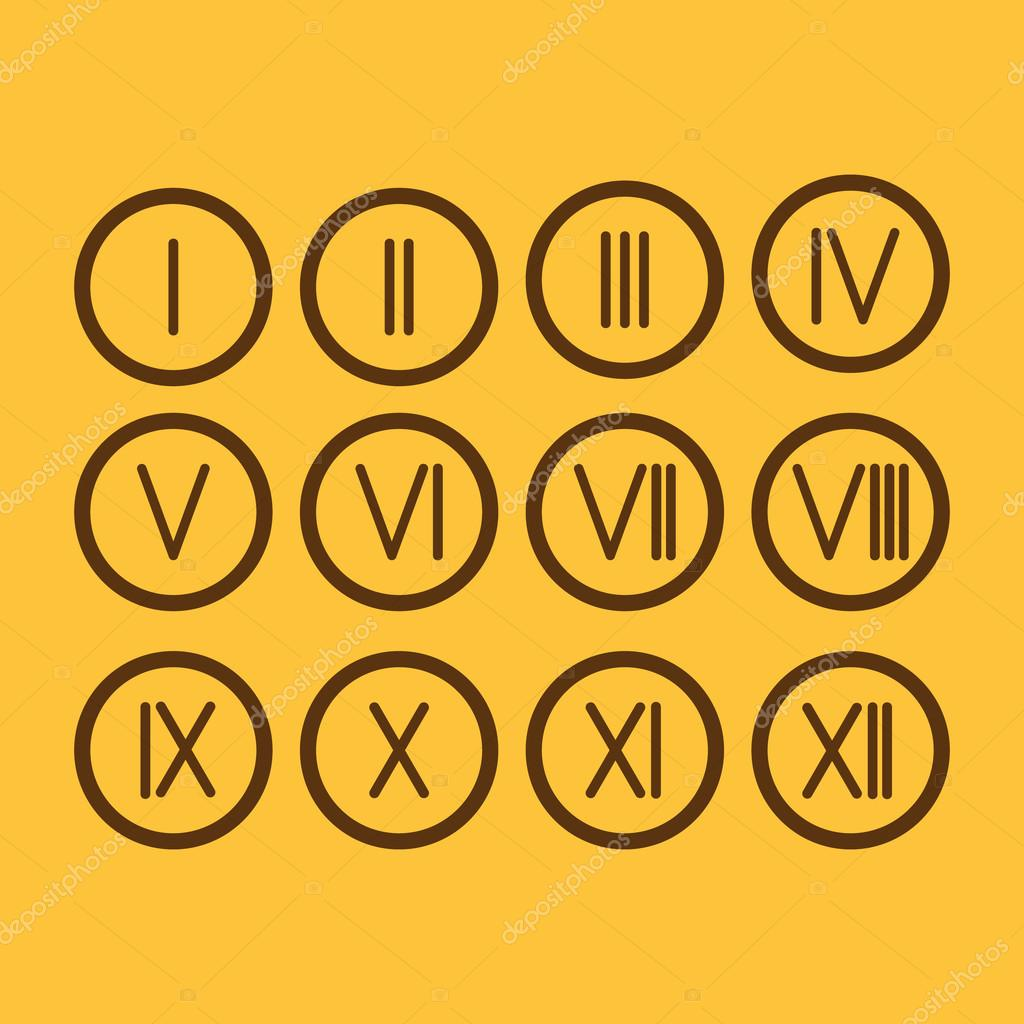 Set Roman Numerals 1 12 Icon