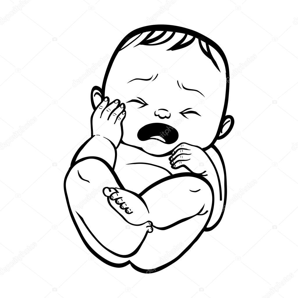 Kis újszülött sír. Vektoros illusztráció islated backgro