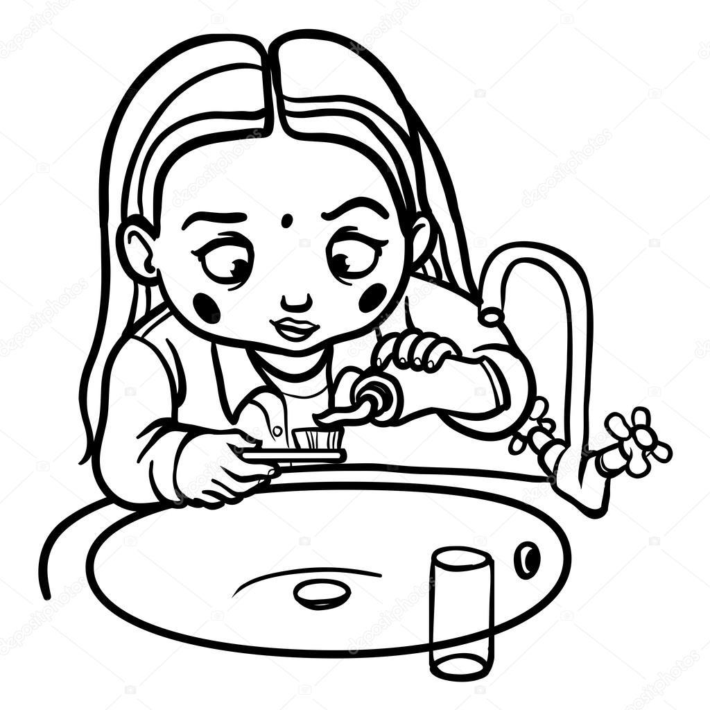 Funny Cartoon Girl Brushing Her Teeth Vector Illustration