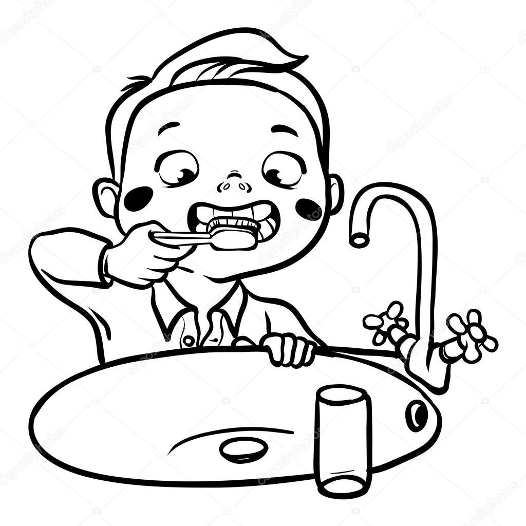 Funny Cartoon Boy Brushing His Teeth Vector Illustration