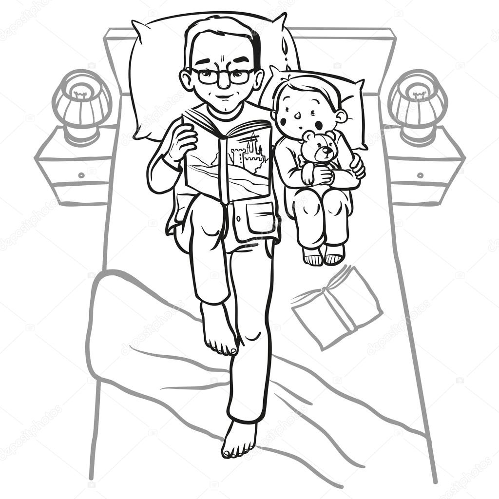 Funny Cartoon Father Reading Book For His Child Vector