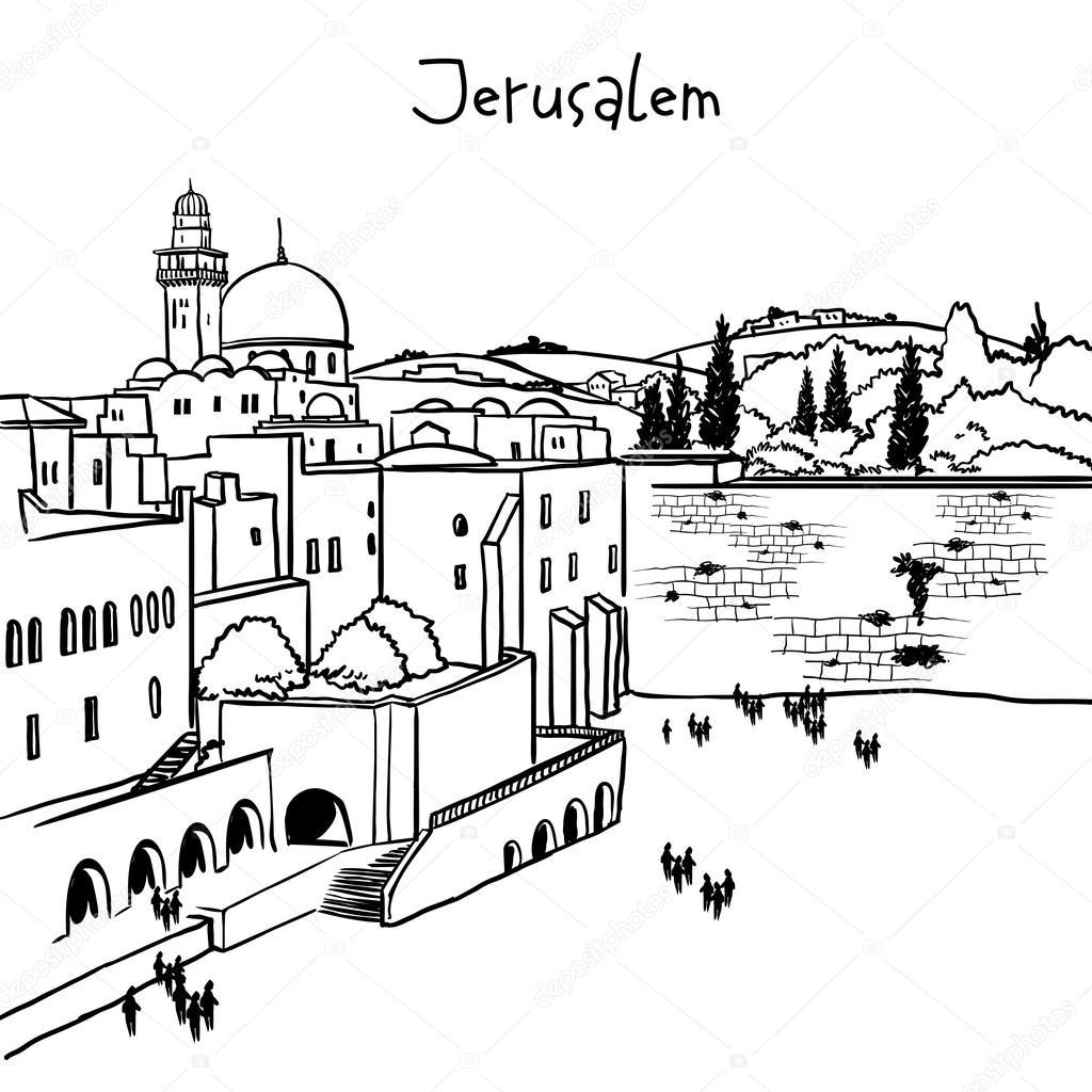 Jerusalem, Israel old city skyline — Stock Vector
