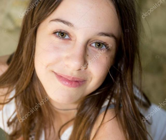 A Cute Teenage Girl Of 12 Years Old Smiling At The Camera Stock Image