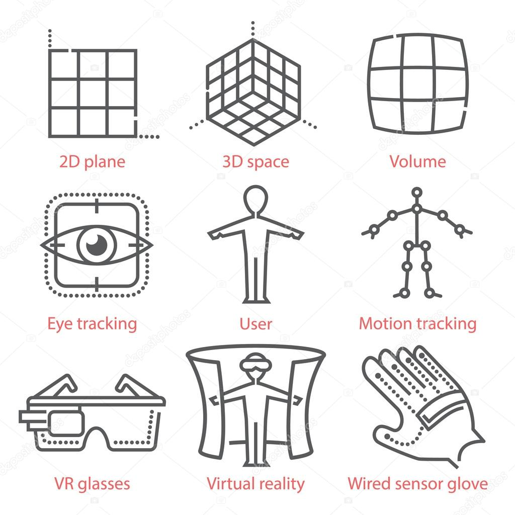 Vector Thin Line Icons Set With Augmented And Virtual