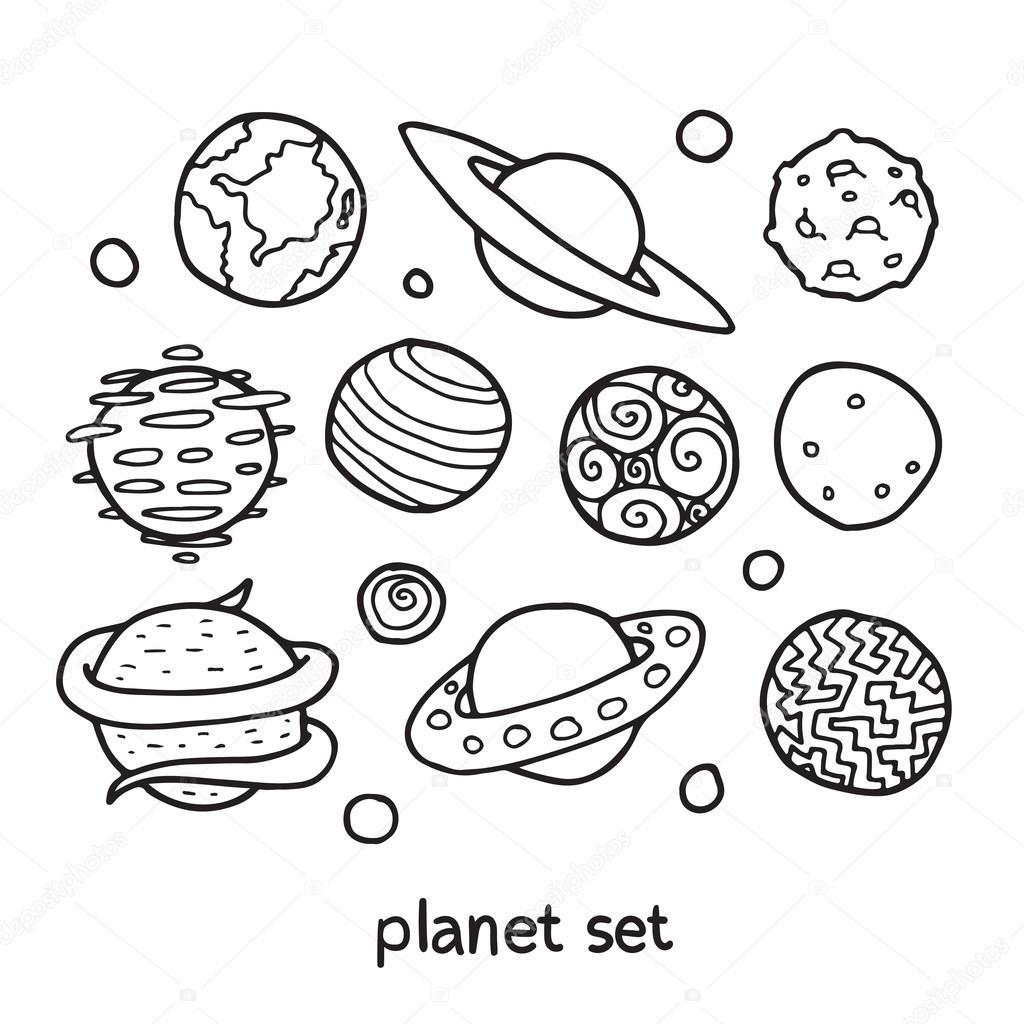 Dessin Anime Esquisse Ensemble De Planetes Fictifs