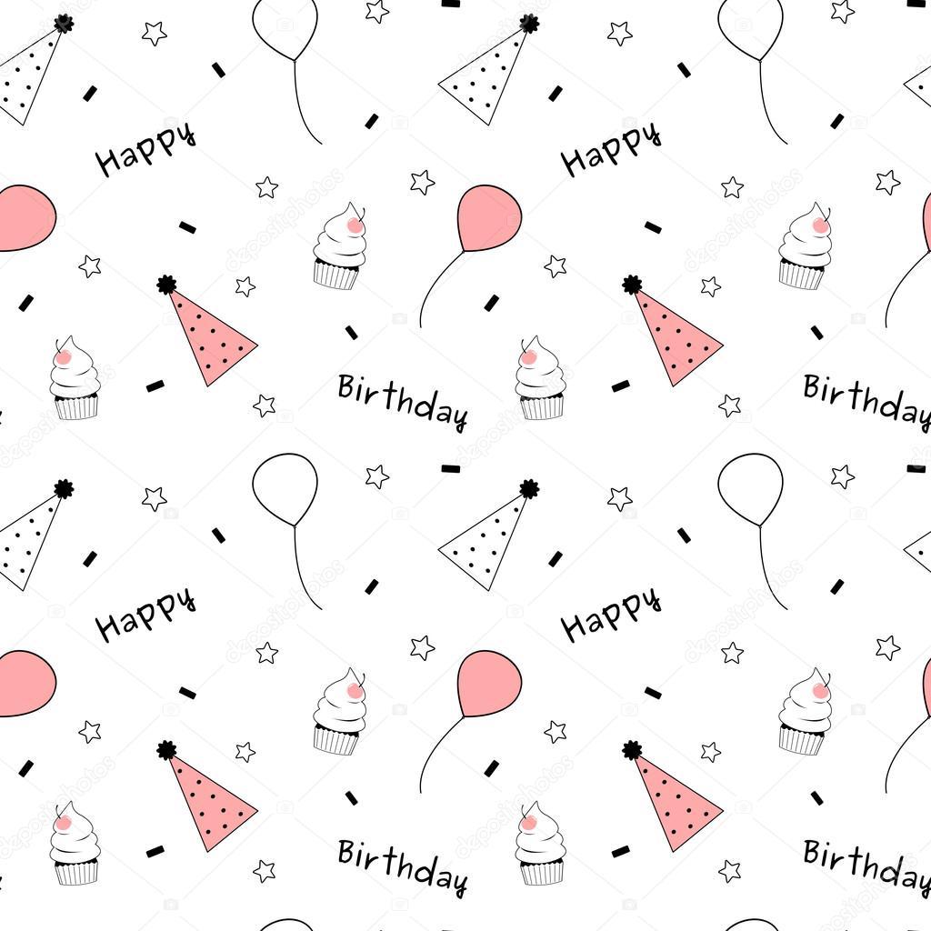 Black white pink cute lovely happy birthday seamless