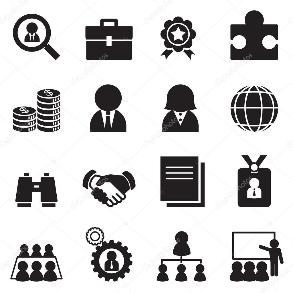 Silhouette Trabalho Icon Set Vector Ilustracao