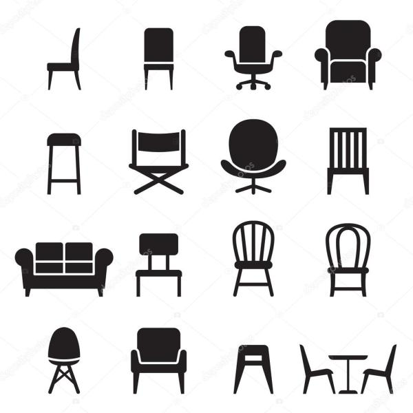 Chair & Seating Icons Set Vector Illustration Front Side