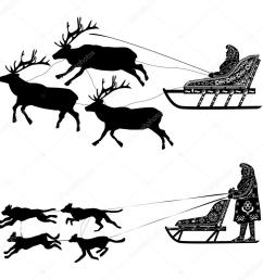 silhouette of a deer or a dog sled drover with national ornaments vector by funny elf [ 1024 x 1024 Pixel ]