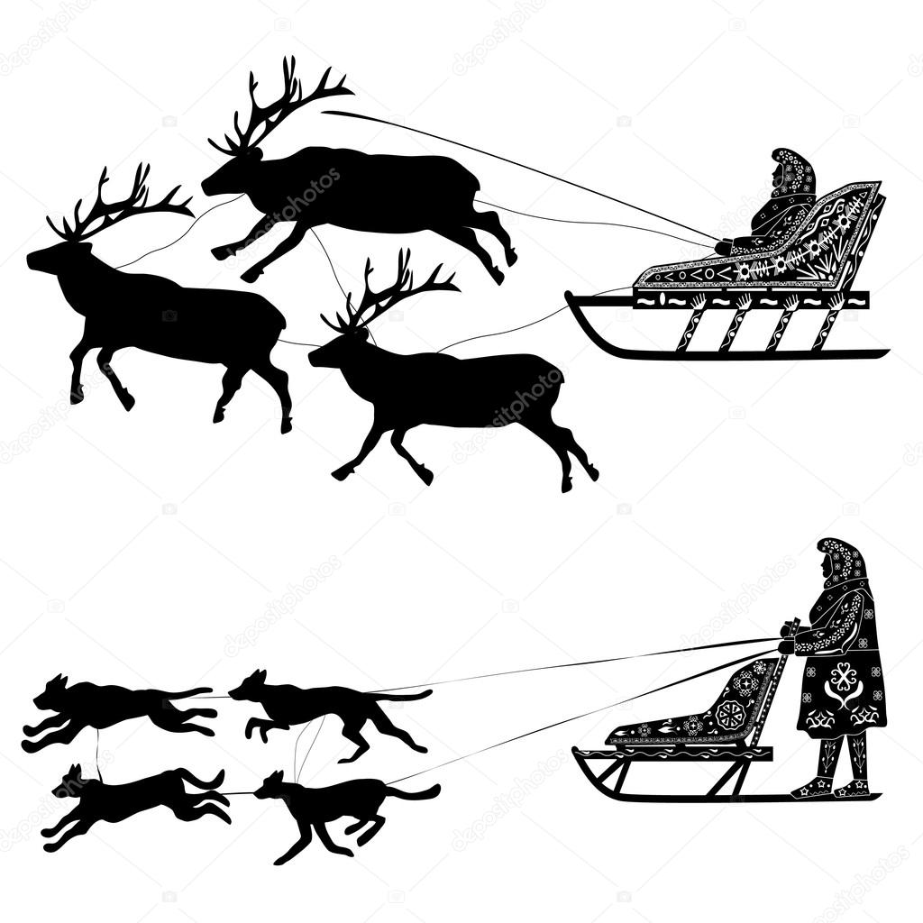 hight resolution of silhouette of a deer or a dog sled drover with national ornaments vector by funny elf