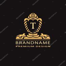 Luxury Vintage Logo. Business Sign Label Letter Emblem T