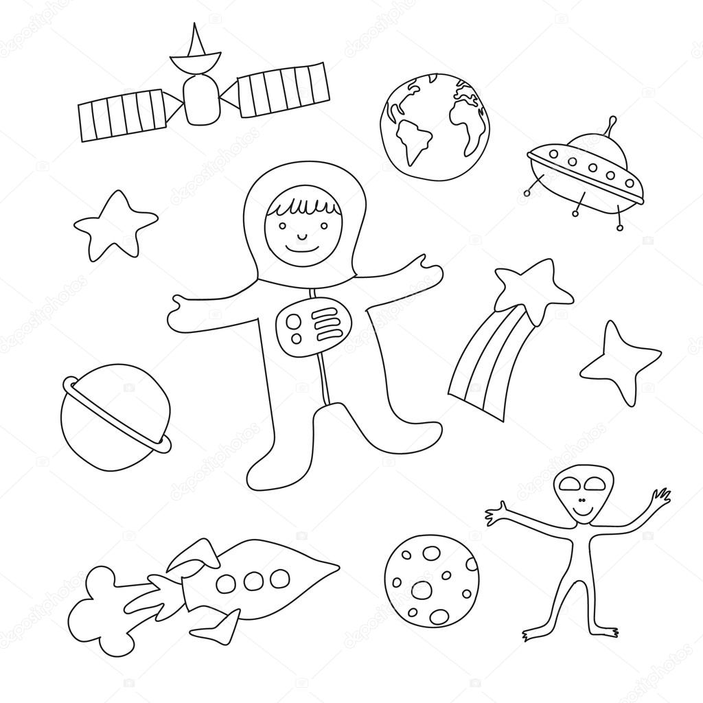 Set of cartoon baby items on the theme of outer space