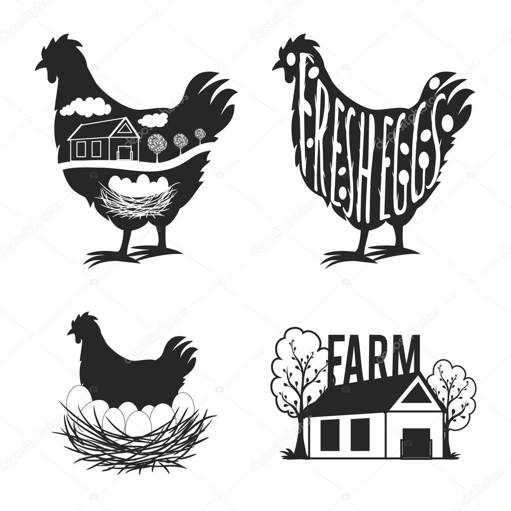 Set Of Chicken Farm Labels