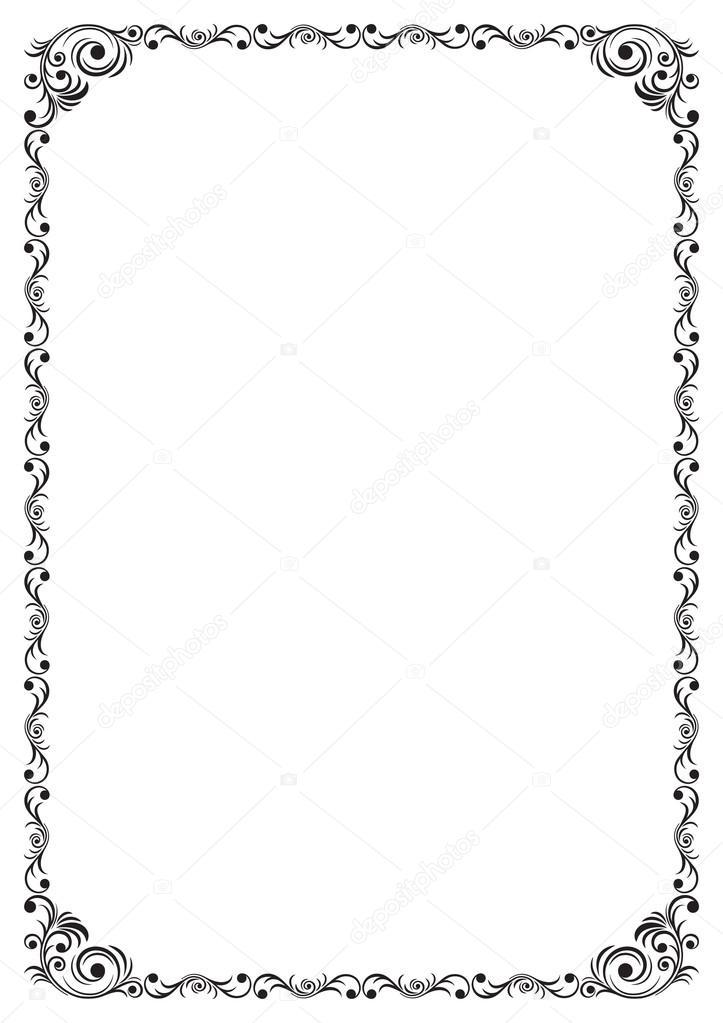 Dcoratif bordure noire sur une page A4  Image