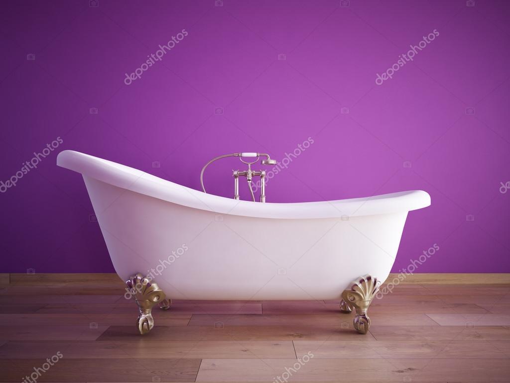 Alte Badewanne im Zimmer mit rosa Wand. 3D-Rendering