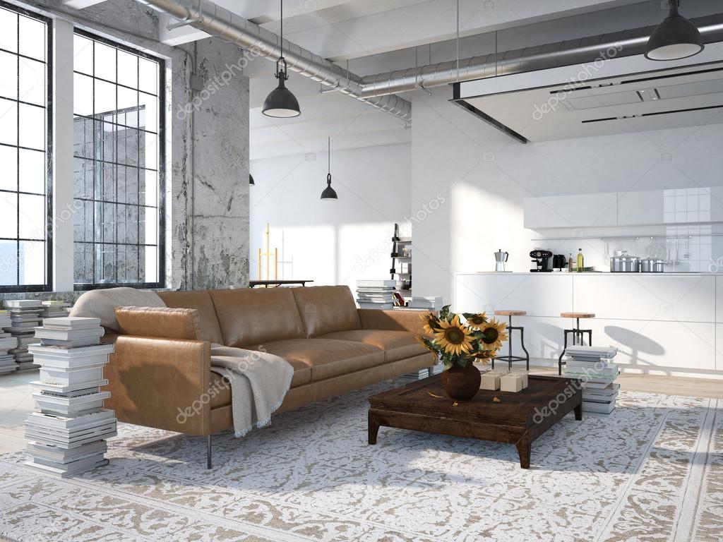 Moderne Loft mit einer Kche 3d rendering  Stockfoto