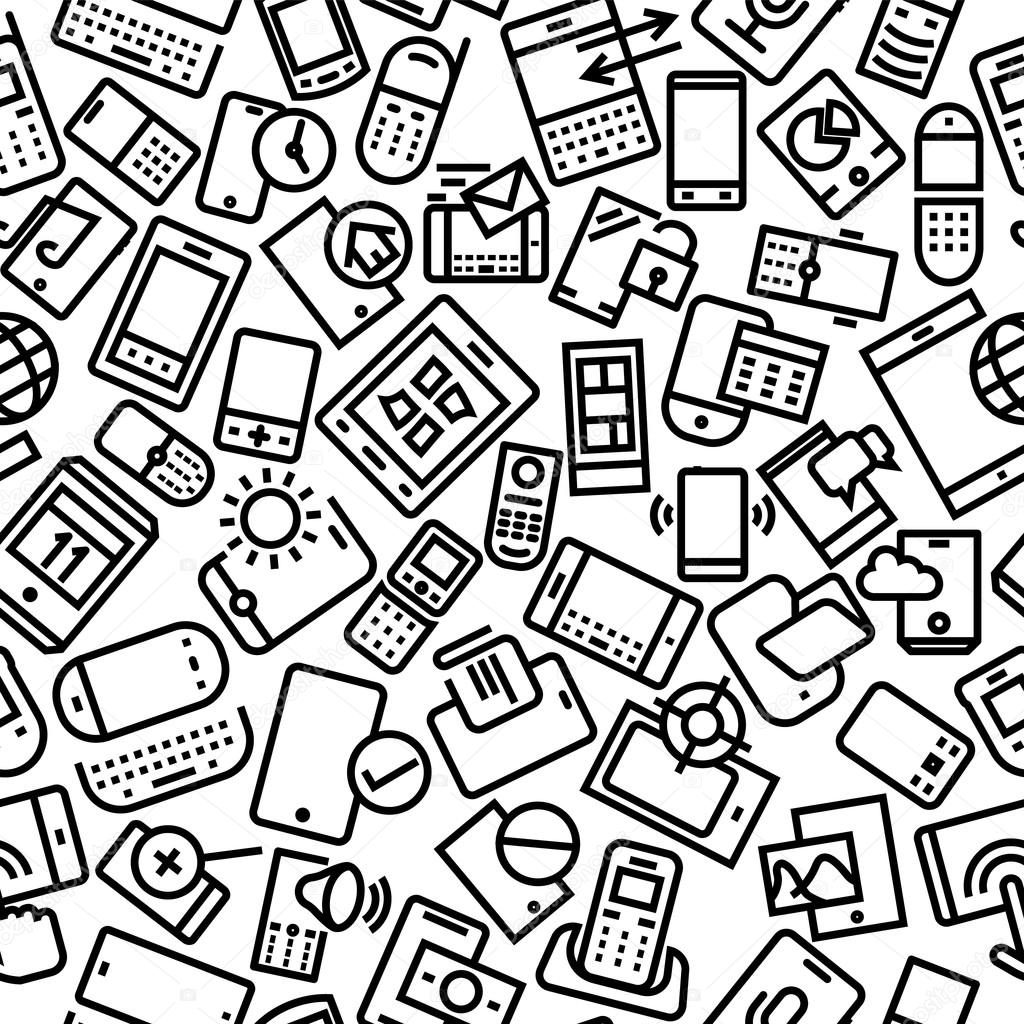 Mobile and Gadgets Seamless Outline Pattern Background