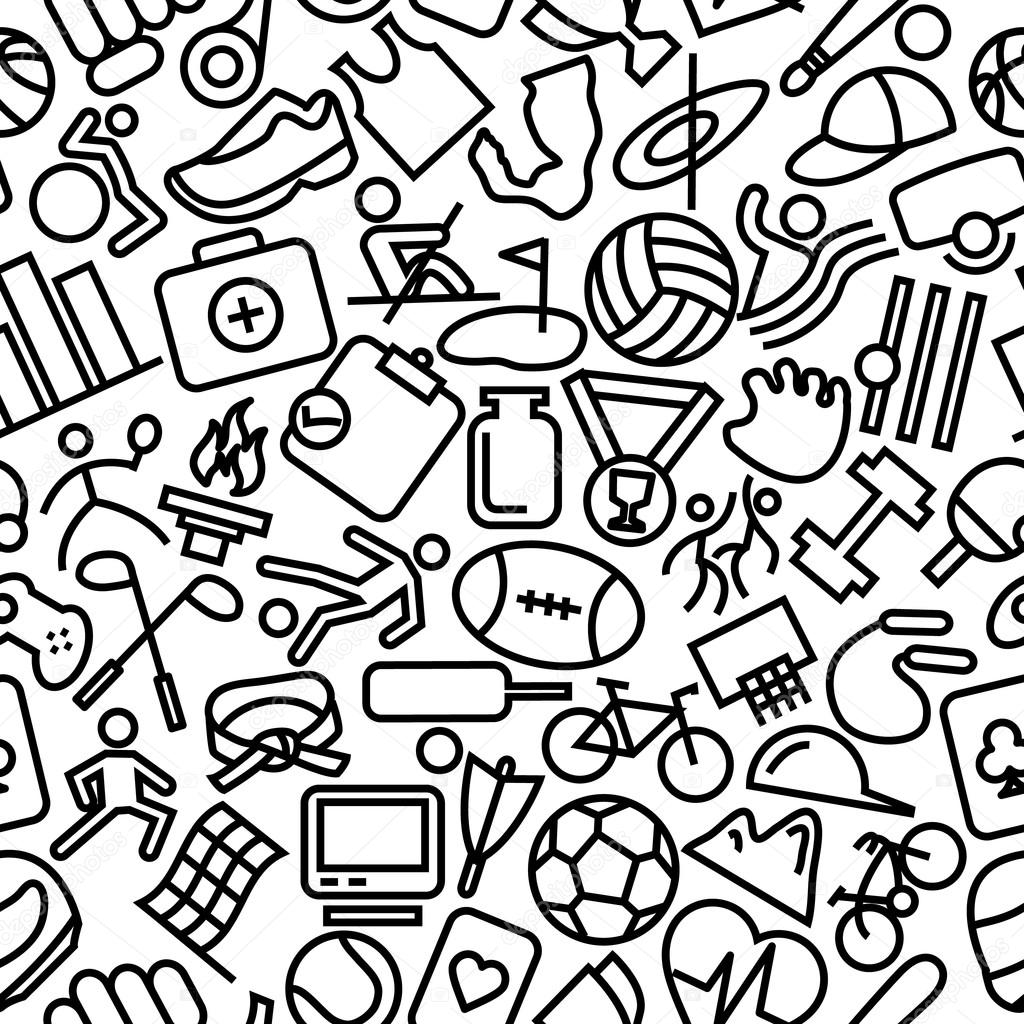 Sports Seamless Outline Icon Pattern Background — Stock