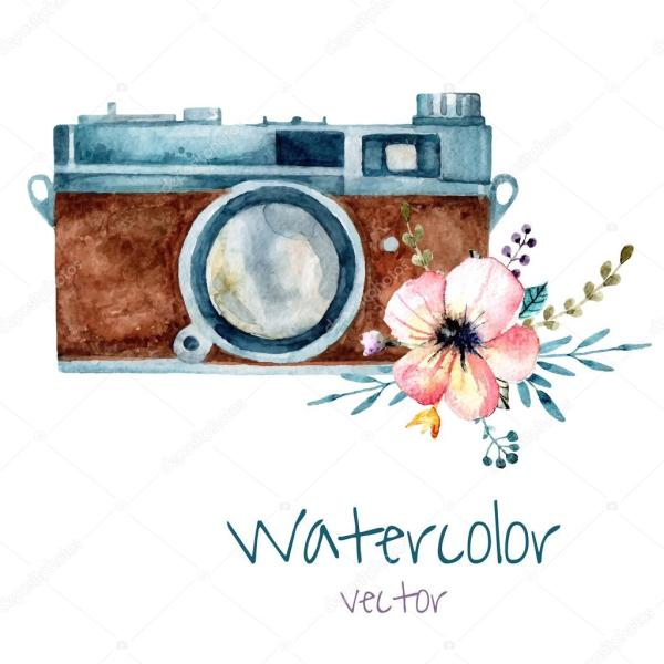 Vintage Watercolor Camera Stock Vector Formalnova