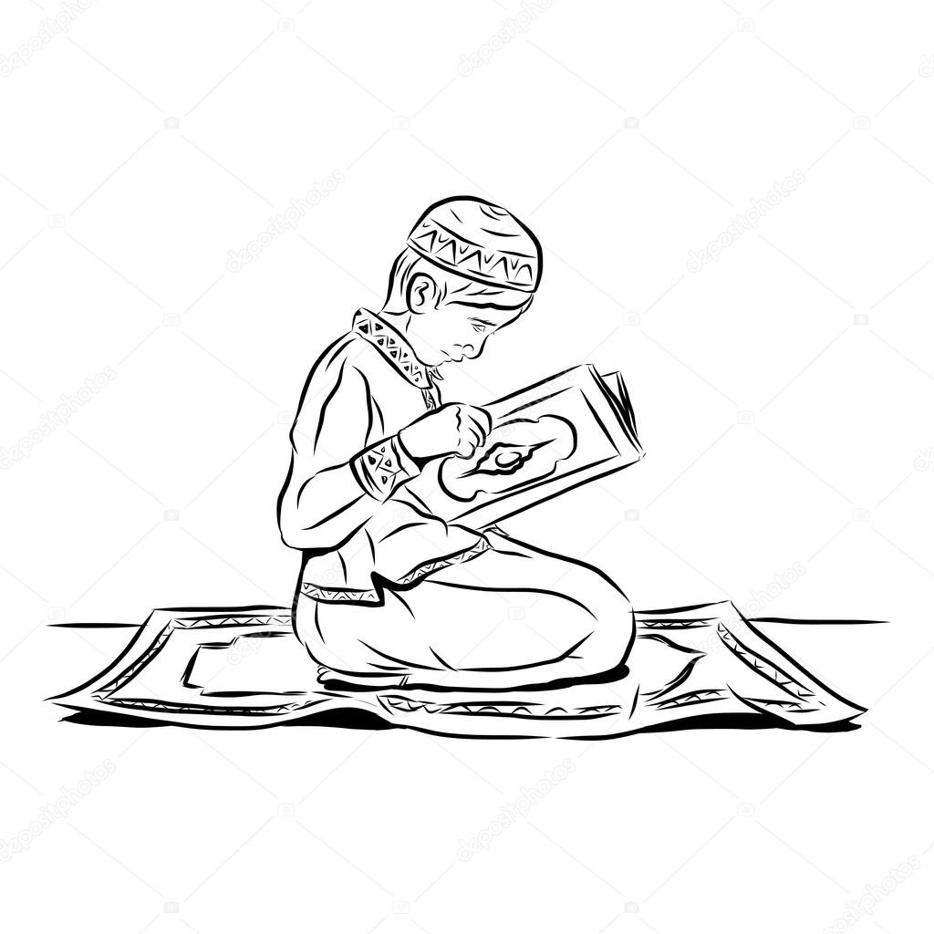 muslim man sketch — Stock Vector © yugra #75523783