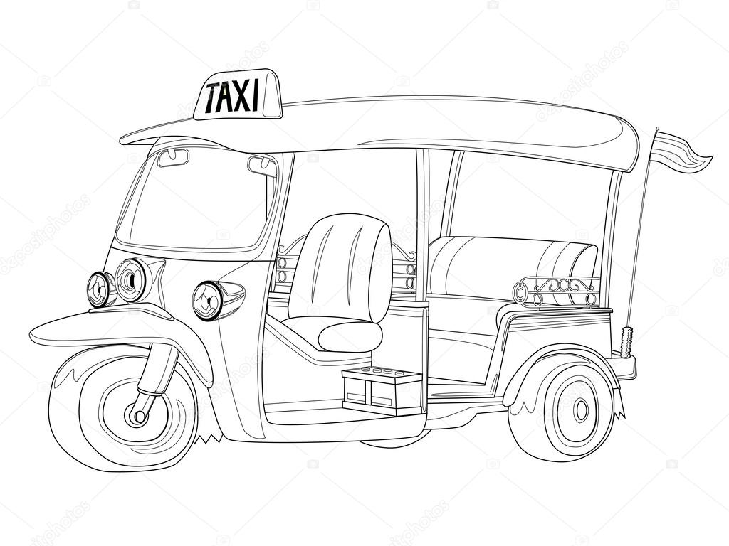 Tuk-Tuk Thajsko Taxi v černé a bílé osnově — Stock Vektor