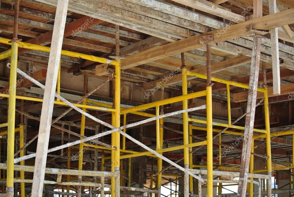 Scaffolding erected to support slab formwork — Stock Photo © Aisyaqilumar #72107661