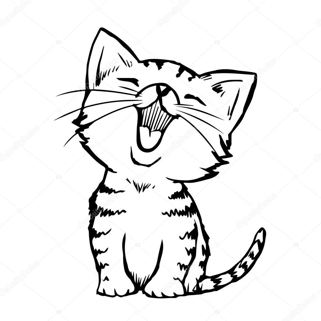 Katze Kitten Hand Gezeichnet