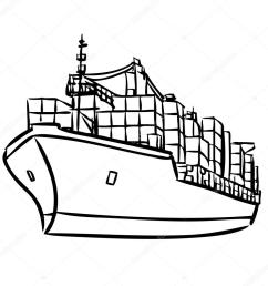cargo ship with containers stock illustration [ 1024 x 1024 Pixel ]